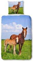 Snoozing Horses - Flanel - Dekbedovertrek - Junior - 120x150 cm + 1 kussensloop 60x70 cm - Multi kleur