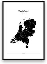 Nederland landposter - Zwart-wit