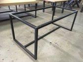 Frame Middenligger Laag| 200x100 | Koker 40x40| Mat Blank| Industrieel Tafelonderstel