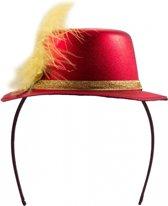 Metallic rood mini hoedje op diadeem