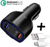 Autolader met 3 USB Poorten + Micro-USB Kabel - Oplader met Fast Charge - Zwart - TechNow