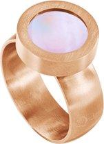 Quiges RVS Schroefsysteem Ring Rosékleurig Mat 17mm met Verwisselbare Roze Schelp 12mm Mini Munt
