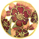 Behave® Broche met bloemen rood - emaille sierspeld -  sjaalspeld
