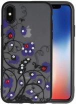 Diamant Bloemen Hoesjes Cases voor iPhone X Paars