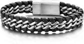 Frank 1967 7FB-0062 - Gevlochten Armband - Staal en Leer 15 mm - 21 cm - Zilverkleurig met Zwart