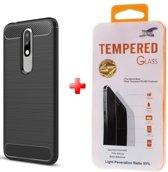 Silicone gel zwart hoesje Nokia 5.1 Plus + Glas screenprotector