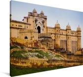 Vooraanzicht van het Fort Amber in India Canvas 30x20 cm - klein - Foto print op Canvas schilderij (Wanddecoratie woonkamer / slaapkamer)
