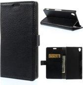 Litchi wallet hoesje Sony Xperia Z3 zwart