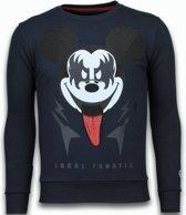Local Fanatic Kiss My Mickey - Rhinestone Sweater - Navy - Maten: XXL