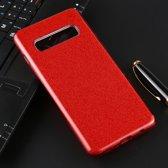 Let op type!! Voor Galaxy S10 volledige dekking TPU + PC glittery poeder beschermende Back Cover (rood)