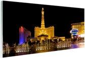 Verlichte Las Vegas strip Glas 120x80 cm - Foto print op Glas (Plexiglas wanddecoratie)