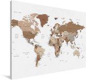 Bruin getinte wereldkaart Canvas 30x20 cm - klein - Foto print op Canvas schilderij (Wanddecoratie woonkamer / slaapkamer)