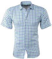 Pradz - Heren Korte Mouw Overhemd - Geblokt - Slim Fit - Wit