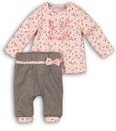Dirkje Meisjes Baby Setje 2-delig - Grey + pink print - Maat 86