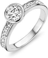 Silventi 943284393-56 Zilveren ring - ronde zirkonia Ø 7 mm - maat 56 - zilverkleurig