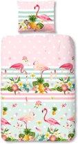 Good Morning 5512-A Flamingo - kinderdekbedovertrek - eenpersoons - 140x200/220 cm  - 100% katoen - multi