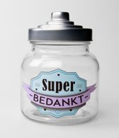 Snoeppot - Bedankt - Gevuld met verse snoepmix - In cadeauverpakking met gekleurd lint