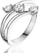 Montebello Ring Three Stars - Dames - 925 Zilver Gerhodineerd - Zirkonia - Maat 56 - 17.8 mm