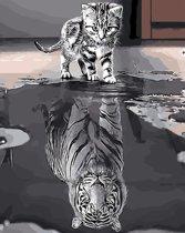 Dieux® - Schilderen op nummers - Kitten in spiegelbeeld tijger - 50 x 40 - Volwassenen