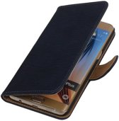 Hout Blauw Samsung Galaxy S6 edge Plus - Book Case Wallet Cover Hoesje