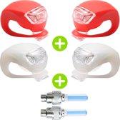 TIGR Dubbele Set Fietslampjes Met Gratis Set Ventiellampjes - Inclusief Batterijen