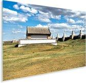 Wolkenformatie boven het Erdene Zuu klooster in Azië Plexiglas 90x60 cm - Foto print op Glas (Plexiglas wanddecoratie)