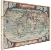 Oude atlas print Hout 120x80 cm - Foto print op Hout (Wanddecoratie)