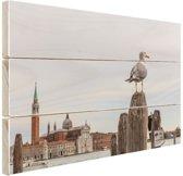 Zeemeeuw in Venetie Hout 120x80 cm - Foto print op Hout (Wanddecoratie)