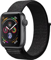 Apple Watch Series 4 - 40 mm - spacegrijs met zwarte Nylon sportband