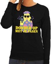 Fout paas sweater zwart  donder op met je Pasen voor dames L