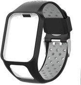 Siliconen Horloge Band Voor Tomtom Adventurer / Golfer 2 / Spark / Runner 2/3 - Armband / Polsband / Strap Bandje / Sportband - Zwart / Grijs