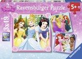 Ravensburger Disney Princess Drie puzzels van 49 stukjes