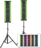 Vonyx LM65 LightMotion actieve speakerset met LED lichtshow + setje statieven
