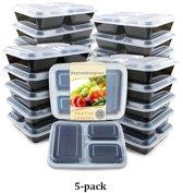 Vershoudsdoos- Lunchbox met drie compartimenten - ook geschikt voor Meal prep