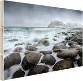 Noorse zee  Hout 160x120 cm - Foto print op Hout (Wanddecoratie) XXL / Groot formaat! / Zee en Strand