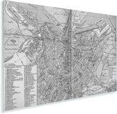 Een historische zwart witte stadskaart van Amsterdam Plexiglas - Plattegrond 90x60 cm - Foto print op Glas (Plexiglas wanddecoratie)