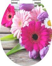 SCHÜTTE WC-Bril 80538 FLOWERS - High Gloss - MDF-Hout - Soft Close - Verchroomde Scharnieren - Decor - 1-zijdige Print