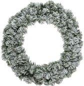 Groen/witte kerstkrans 50 cm Imperial met kunstsneeuw - Kerstkransen kerstversieringen/kerstdecoraties