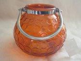 kaarshouder, oranje, glas - 13 x 15 cm