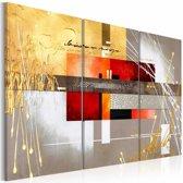 Schilderij - Vier seizoenen , oranje grijs , 3 luik