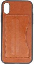 Standing TPU Wallet Case voor iPhone X Bruin