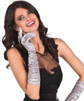 Lange zilverkleurige handschoenen voor vrouwen - Verkleedattribuut