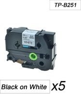 5x Brother Tze-251 TZ-251 Compatible voor Brother P-touch Label Tapes - Zwart op Wit - 24mm