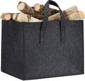 relaxdays houtmand vilt - opbergmand - krantenbak - viltmand - 34,5 x 43 x 35,5 cm antraciet