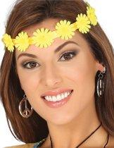 Gele bloemen hoofdband voor volwassenen - Verkleedattribuut