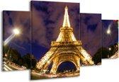 Canvas schilderij Eiffeltoren | Geel, Paars, Grijs | 160x90cm 4Luik