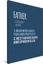 Cadeaus voor de liefste vader - blauwe print met tekst - Father Canvas 60x90 cm