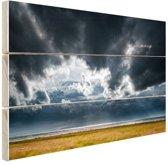 Onweerswolken Hout 120x80 cm - Foto print op Hout (Wanddecoratie)