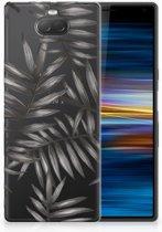 Sony Xperia 10 Uniek TPU Hoesje Leaves Grey
