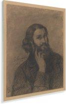 Zelfportret - Schilderij van Gustave Courbet Plexiglas 120x160 cm - Foto print op Glas (Plexiglas wanddecoratie) XXL / Groot formaat!